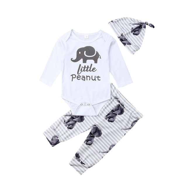 "3 Pcs Boys ""Little Peanut"" Print Set"