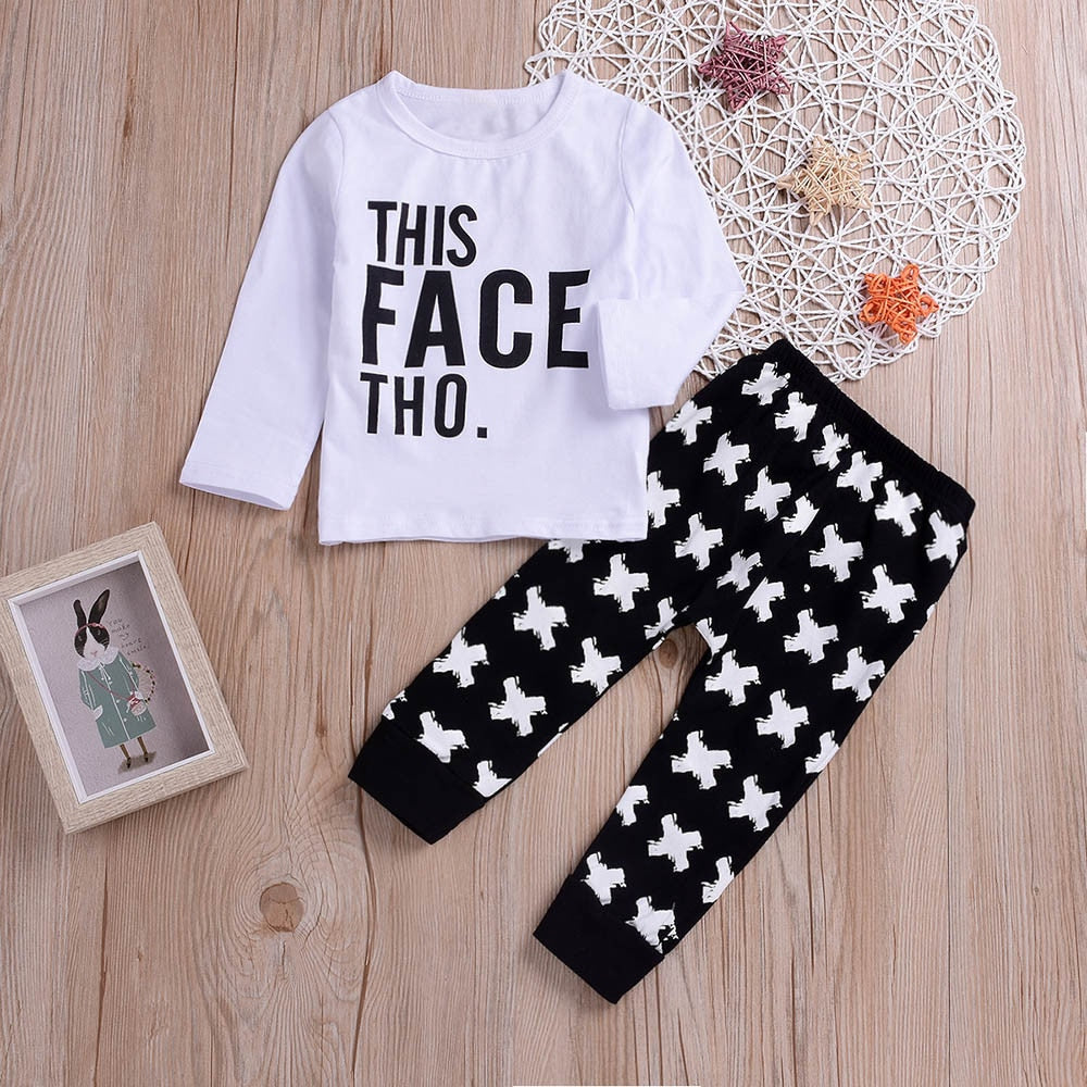 "2 Pcs ""This Face Tho"" T-Shirt & Pants Set"