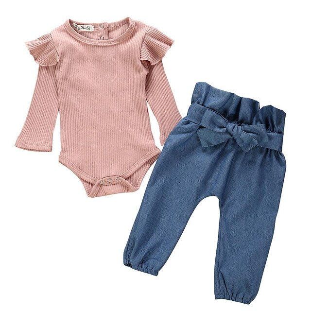 2 Pcs Girls Ruffle Romper & Denim Pants Set