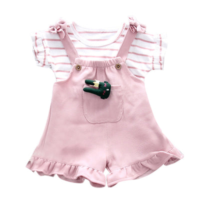 2 Pcs Girls Striped T-Shirts & Shorts Set