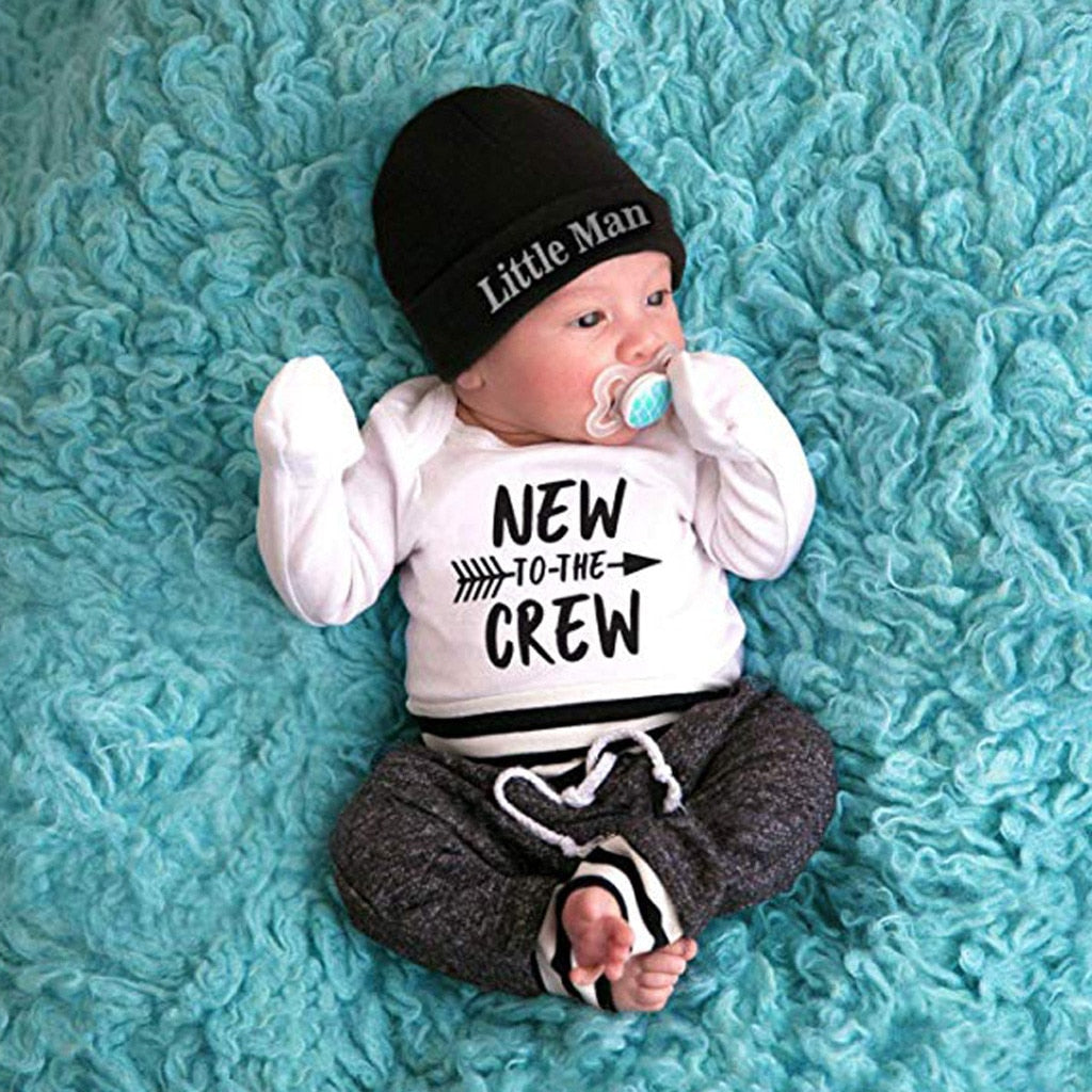 "3 Pcs Boys ""New to the Crew"" Print Set"