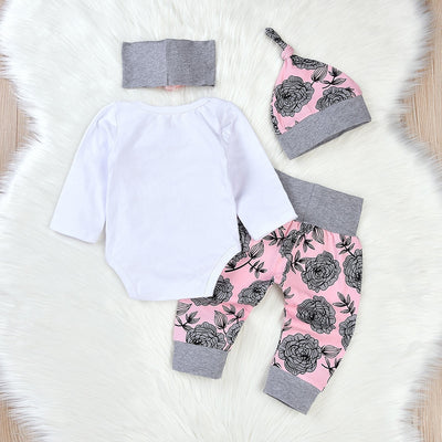 4 Pcs Girls Print Floral Set