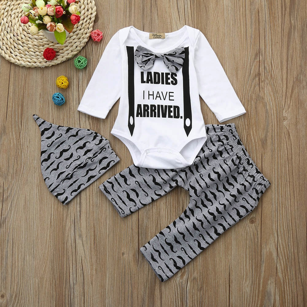3 Pcs Boys Print Mustache Set