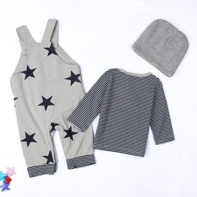 3 Pcs Boys T-shirt, Jumpsuit & Hat Set