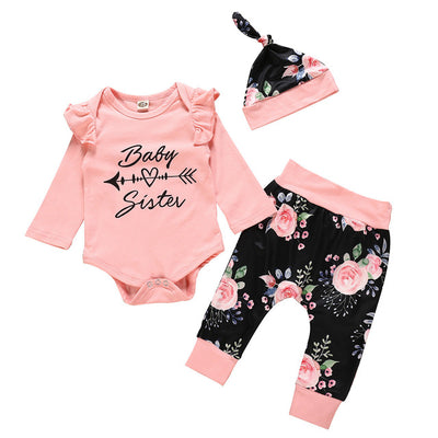 "3 Pcs Girls ""Baby Sister"" Print Set"