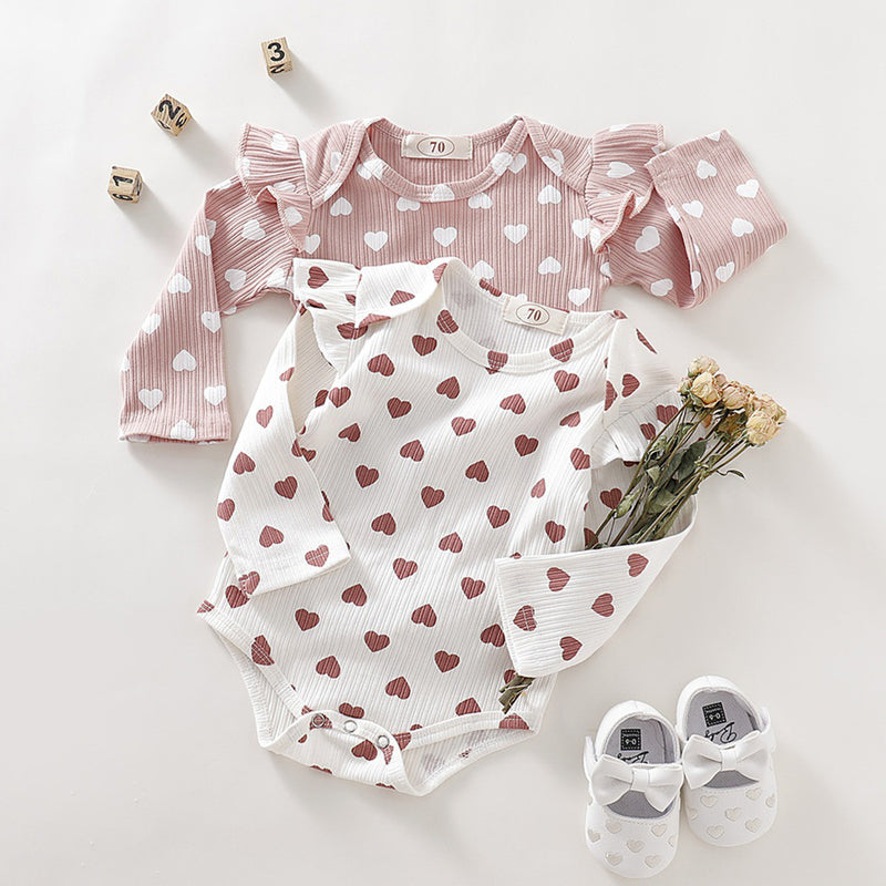 Girls Long Sleeve Ruffle Heart Print Romper Onesie