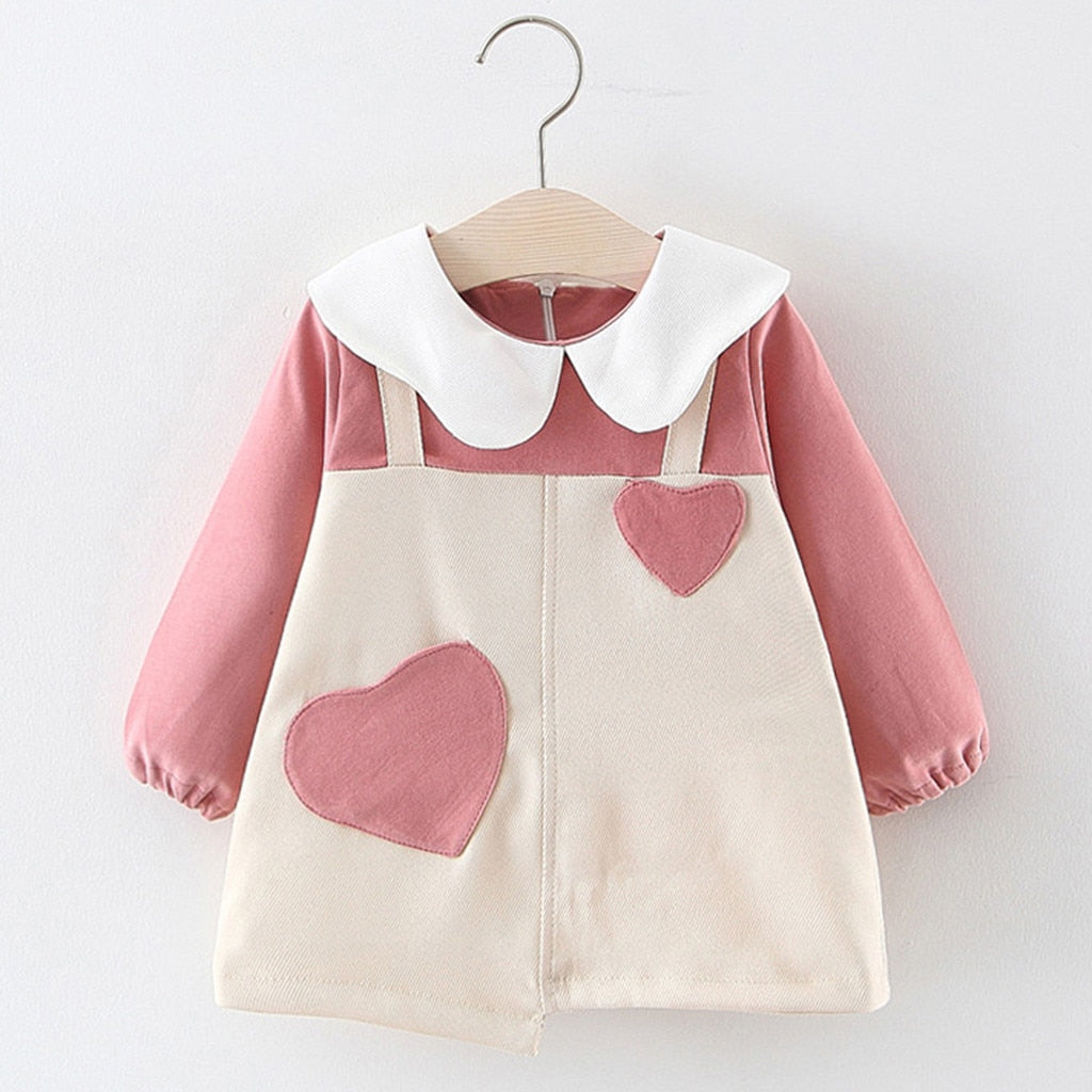 Girls Long Sleeve Heart Dress