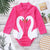 Girls Long Sleeve Swan Print Onesie