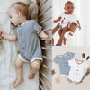 Boys Short Sleeve Solid Button Onesie
