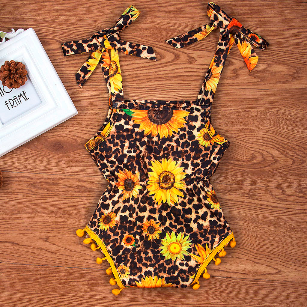 Girls Leopard Summer Romper
