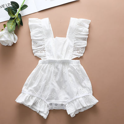 Girls Embroidery Floral Backless Romper