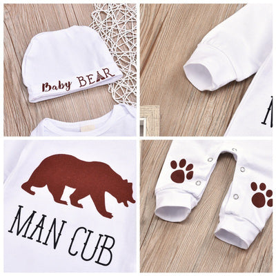 2 Pcs Boys Man Cub Long Sleeve Onesie