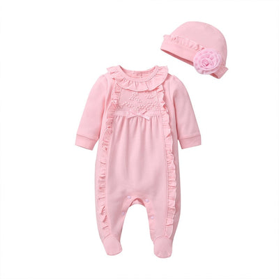 2 Pcs Girls Solid Ruffles Onesie Set