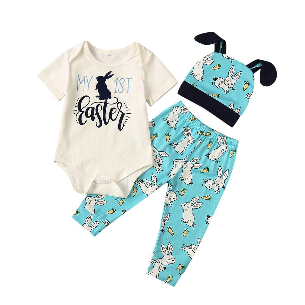3 Pcs Boys Easter Onesie, Bunny Pants & Hat Set