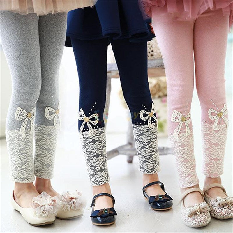 Girls Solid Lace Bow Legging Pants