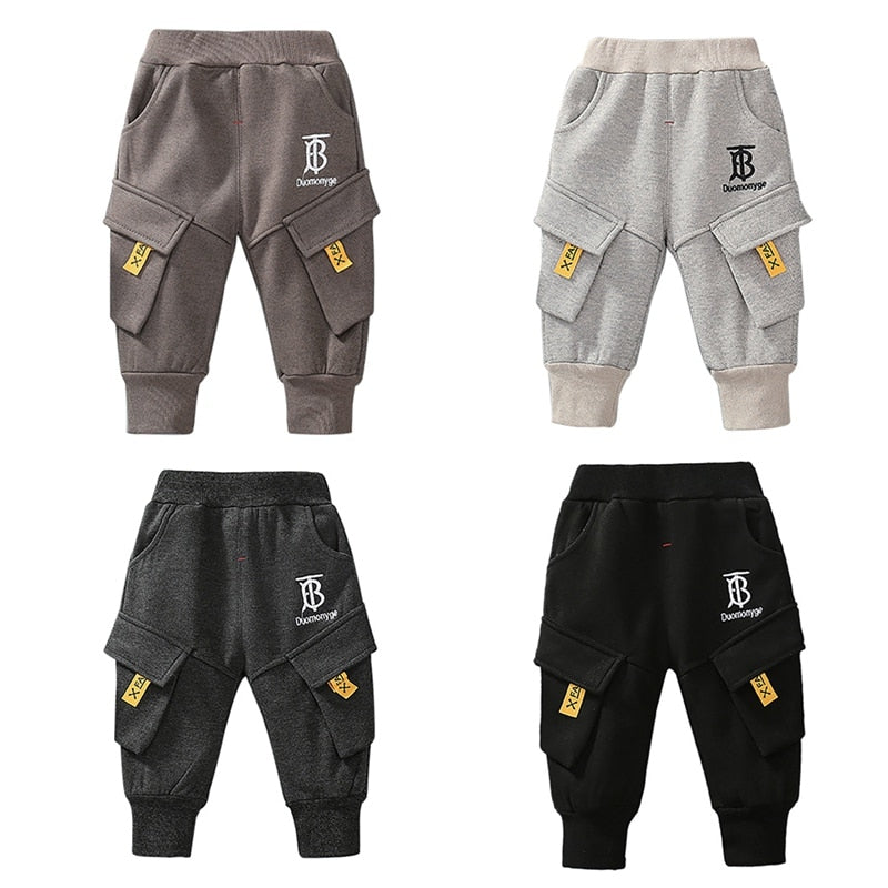 Boys Casual Cotton Soft Stripe Cargo Pants