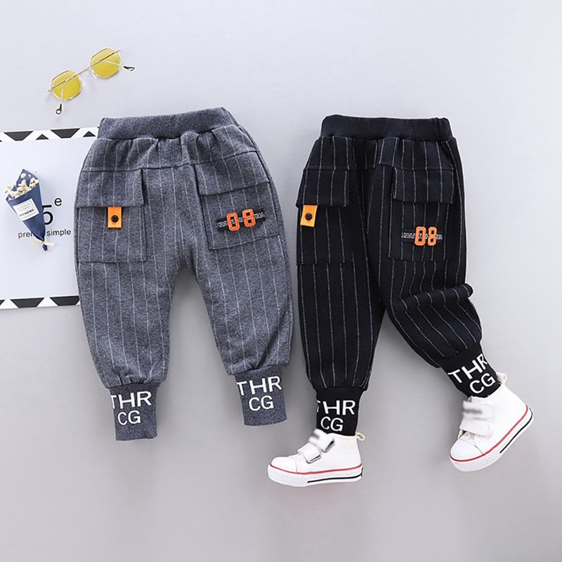 Boys Stripe Letter Print Long Pants