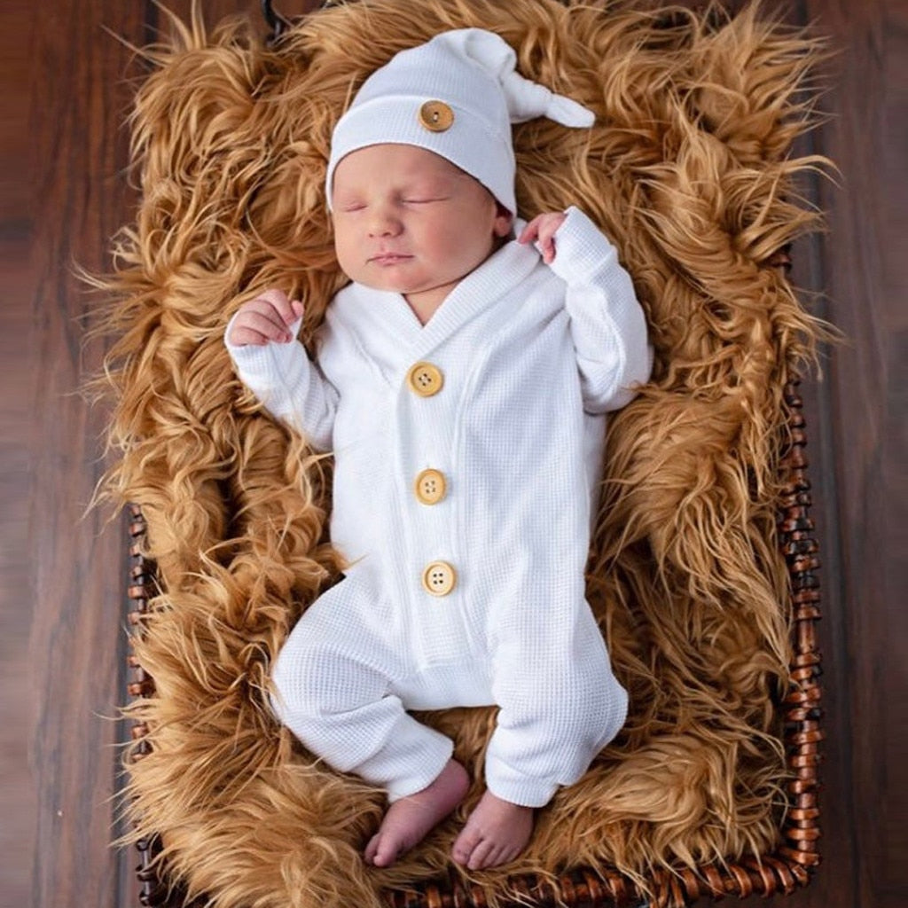 2 Pcs Long Sleeve Button Solid Ribbed Onesie