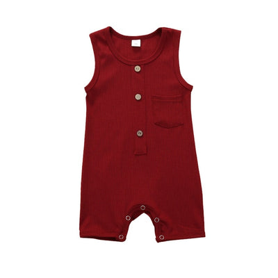 Unisex Sleeveless Solid Pocket Onesie
