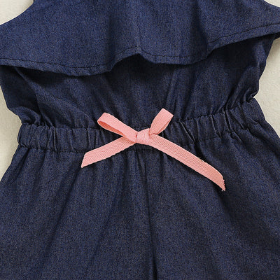 Girls Denim Square Collar Romper