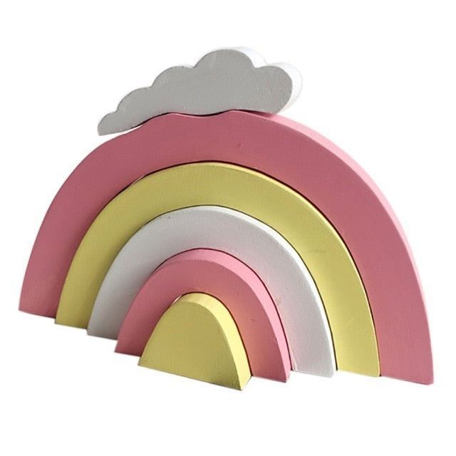 Unisex Wooden Rainbow Building Blocks Room Decor