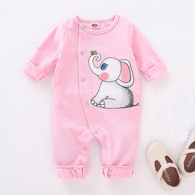 Girls Long Sleeve Elephant Print Onesie