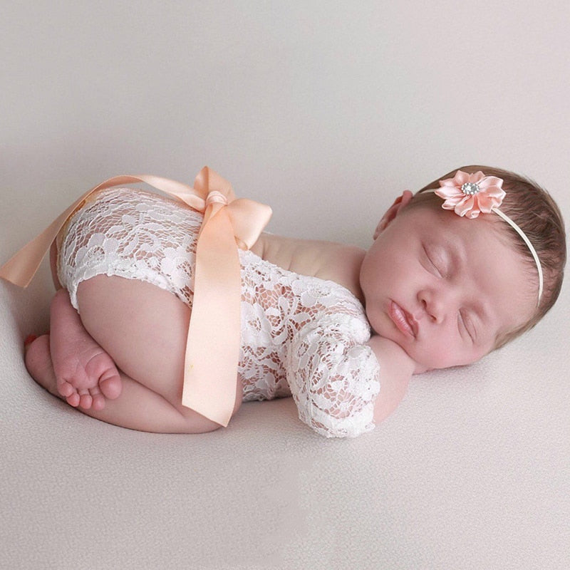 Baby Girl Lace Bow Backless Romper