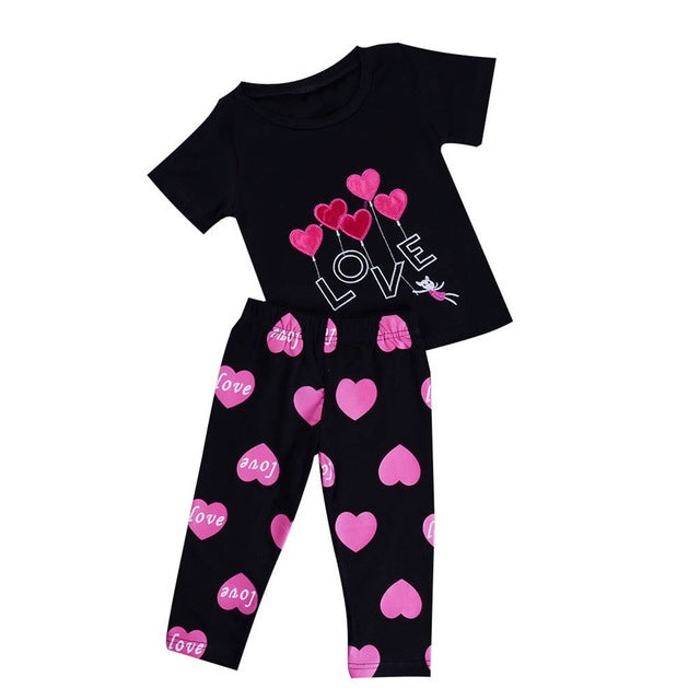 2 Pcs Girls Love T-Shirt & Pants Set