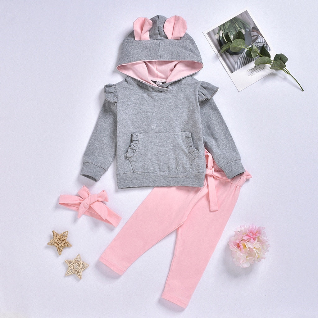 3 Pcs Girls Solid Ruffled Pocket Hooded Top & Pants Set