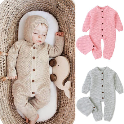 2 Pcs Unisex Knitted Sweater Onesie Jumpsuit Set