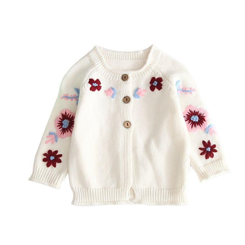 Girls Cute Floral Knit Cardigan