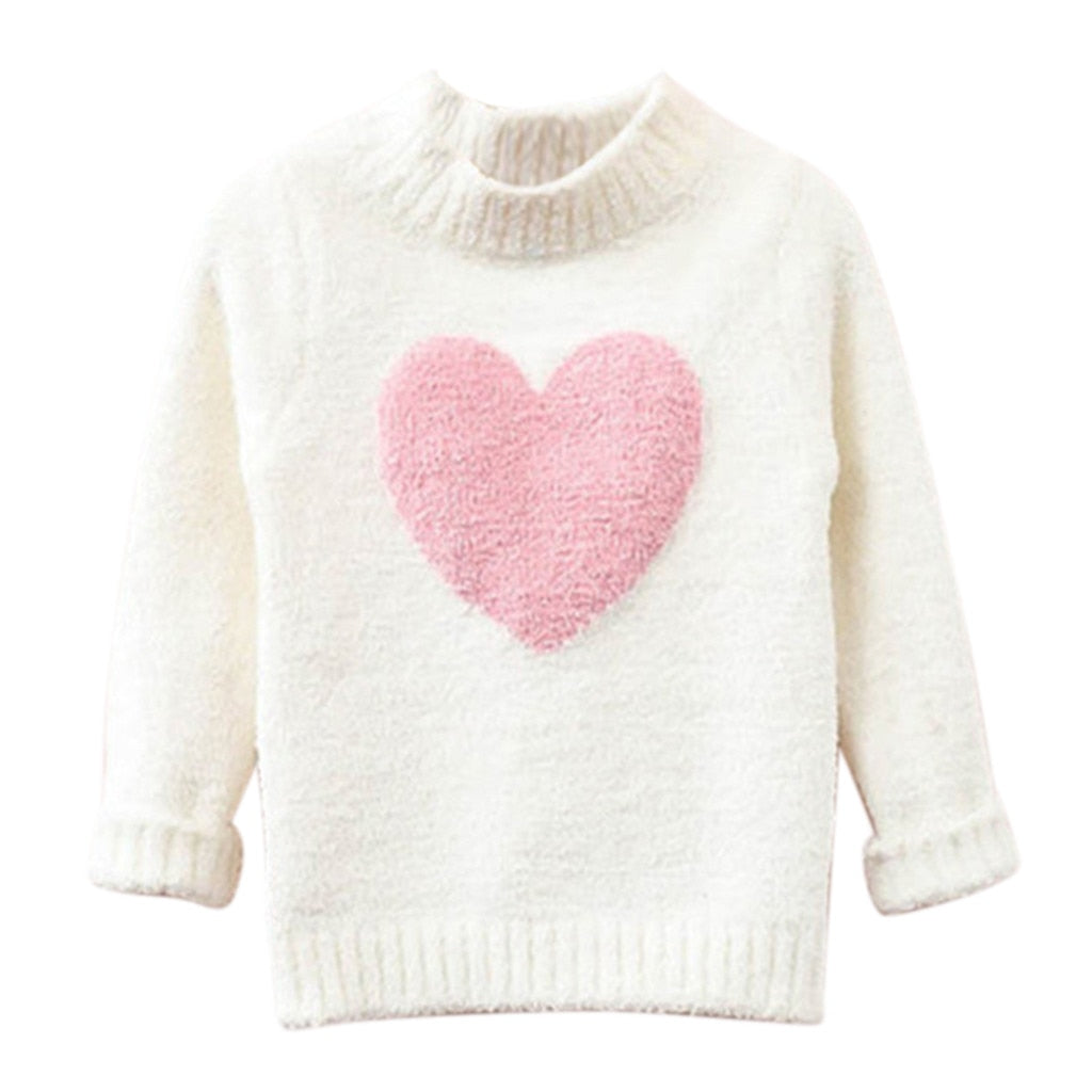 Girls Long Sleeve Heart Sweater