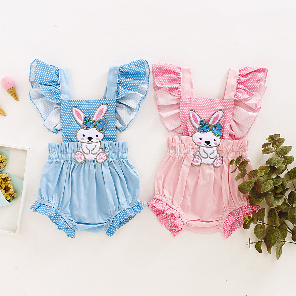 Girls Sleeveless Easter Rabbit Romper