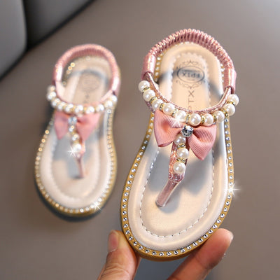 Girls Pearl Crystal Sandals