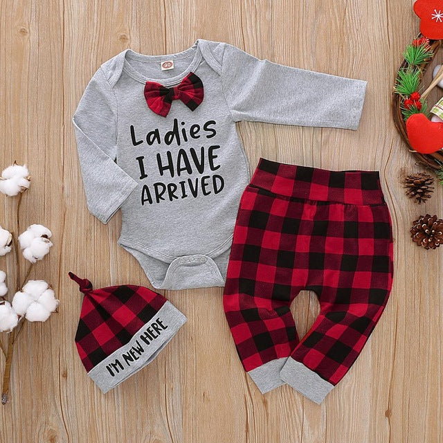 "3 Pcs Boys ""Ladies I Have Arrived"" Print Onesie Set"