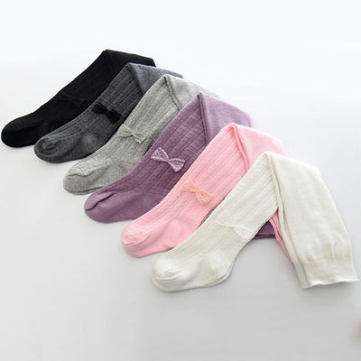 Girls Soft Cotton Bow Tights