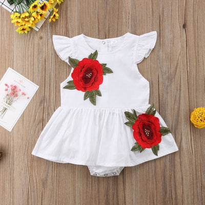 Girls Fly Sleeve Rose Print Romper