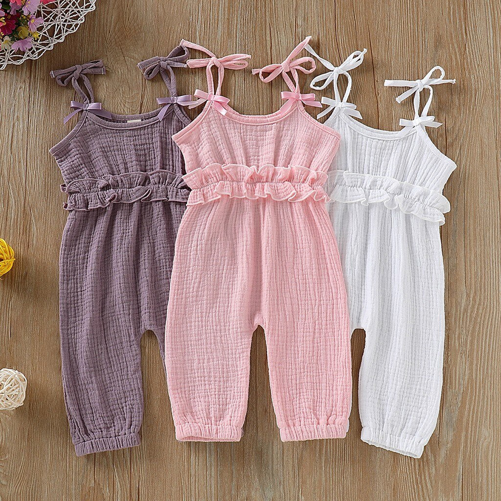 Girls Sleeveless Bow-knot Romper