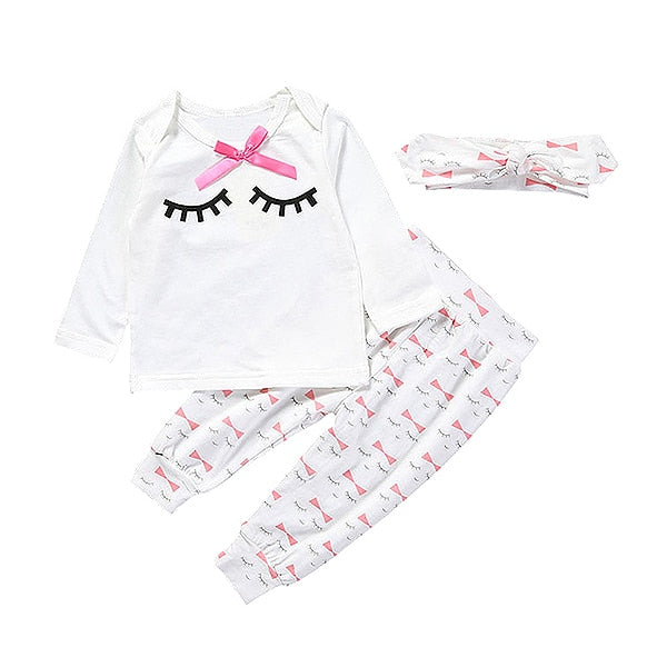 3 Pcs Girls Eyelash Print Set