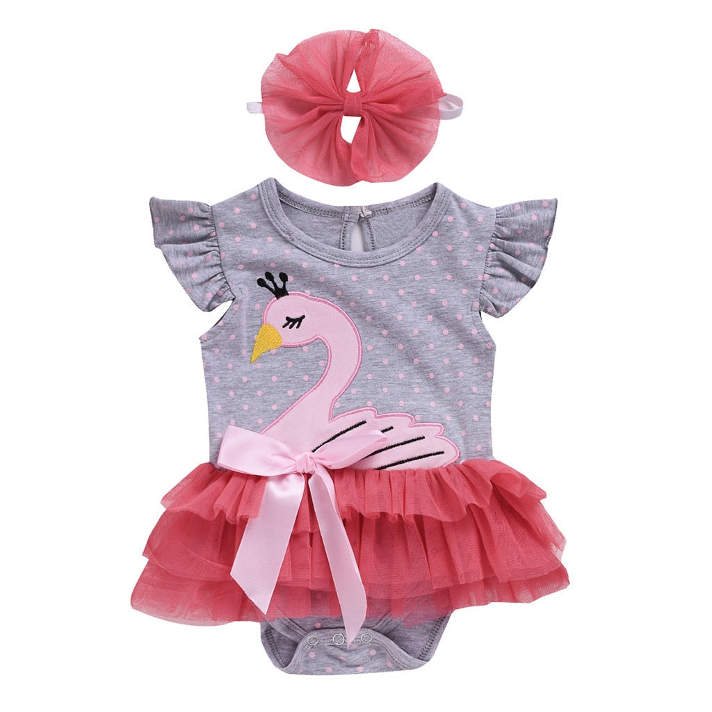 2 Pcs Girls Swan Tutu Bow Onesie & Headband Set