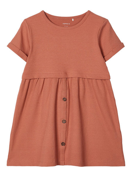 MiniGirl Rib Dress Cedar Wood