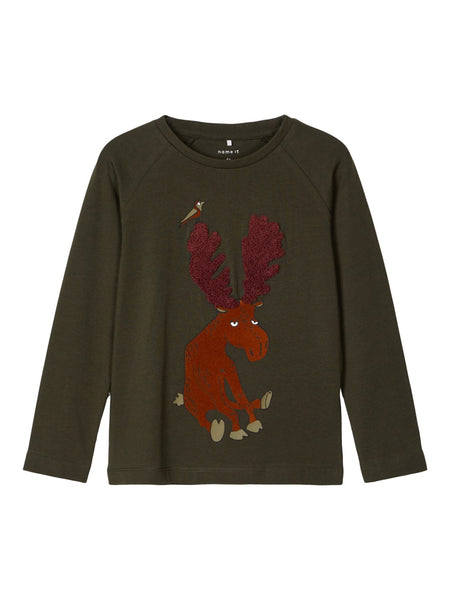 MiniBoy Moose Applique Top