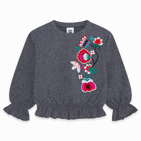 Miss Flower Plush Sweatshirt Cropped