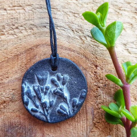 Botanical Black Fynbos Pendant - Nada Spencer Ceramics
