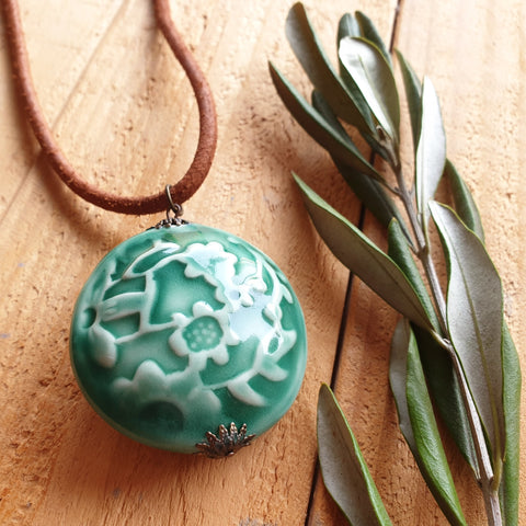 Extra Large Botanical Pendant - Nada Spencer Ceramics