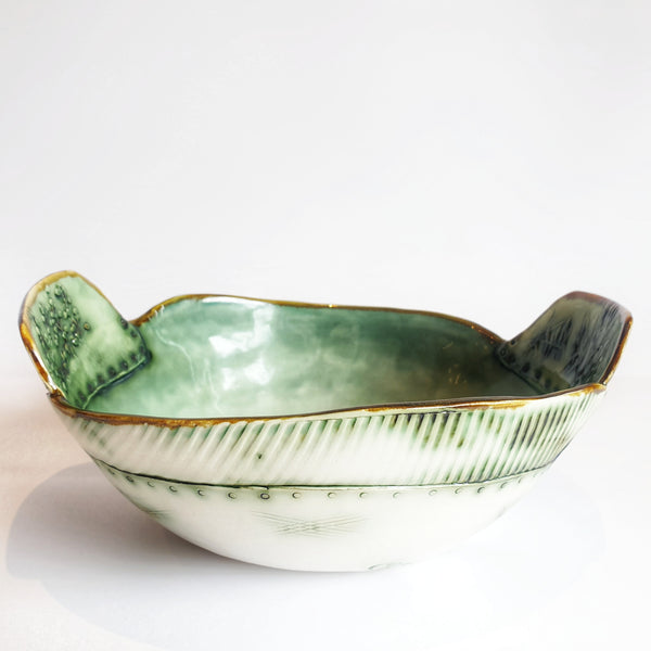 Celadon blue/green Bowl Set of 2 (27cm & 19cm diameter) - Nada Spencer Ceramics