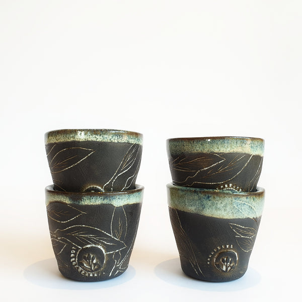 Small Mediteranean Tumblers Set of 4 (7.5 cm high) - Nada Spencer Ceramics