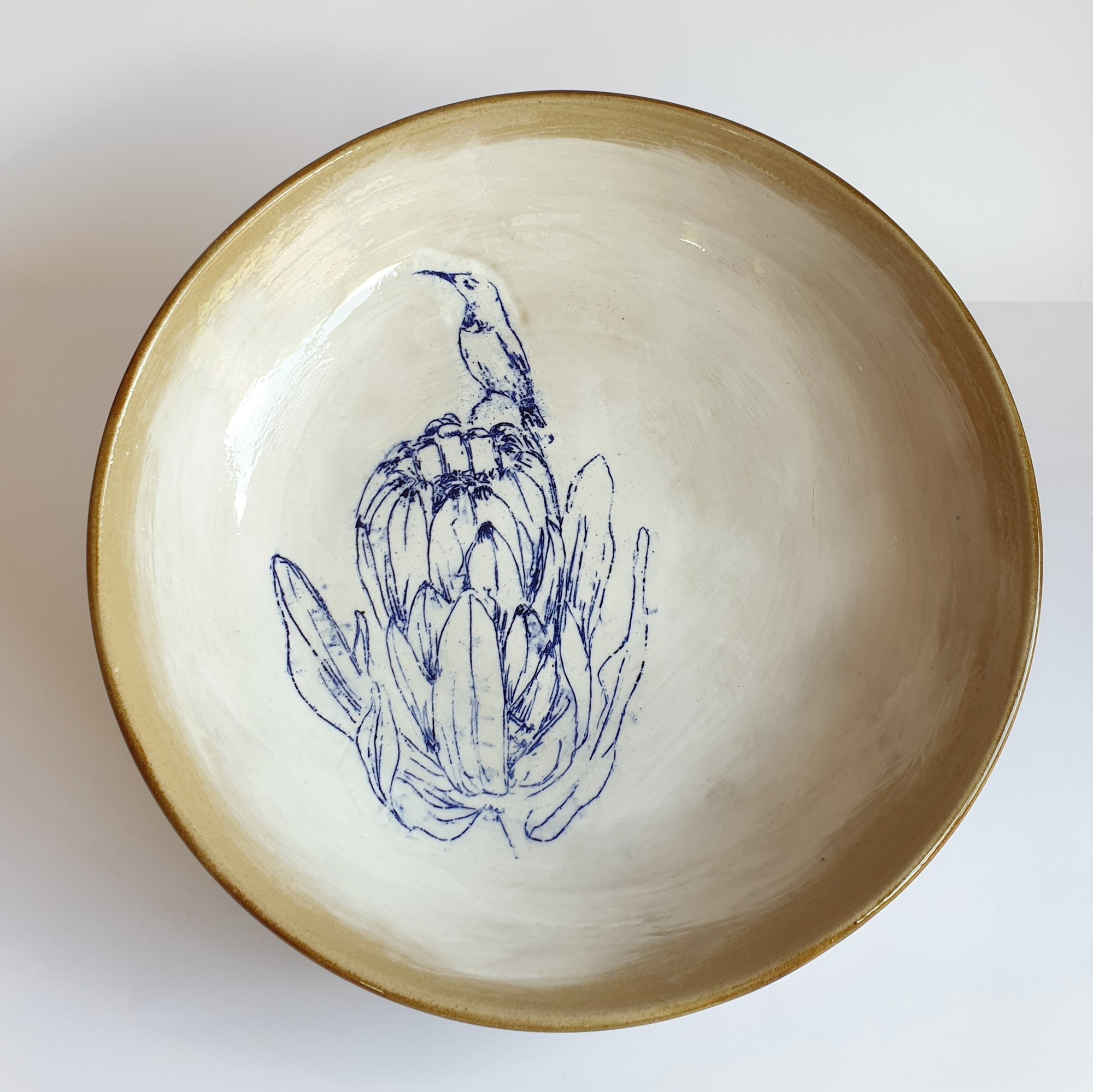 Cobalt blue Sunbird and Protea Platter (36cm diameter) - Nada Spencer Ceramics