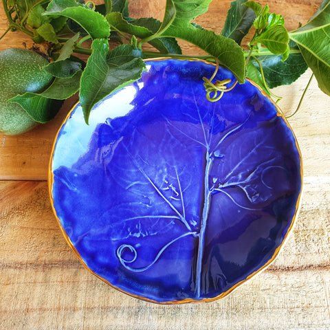 Two Cobalt Blue Jewellery Bowls with Botanical texture - Nada Spencer Ceramics