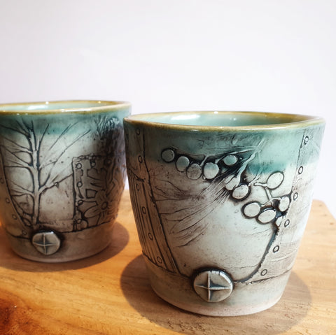 Medium Botanical Tumblers Set of 2 (8.5 cm high, 250ml) - Nada Spencer Ceramics